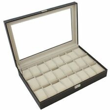 Black Leather 24 Mens Watch Box Large Glass Top Display Jewelry Case Organizer F