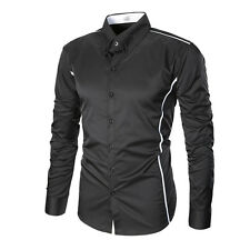 Mens Casual Slim Fit Luxury Blouse Long Sleeve Business Dress Shirts T-shirt Top