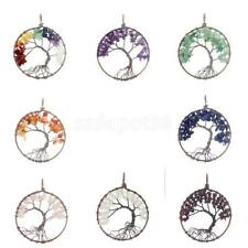 Tree of Life Healing Crystal Wire Wrap Gemstone Beads Charm Pendant for Necklace