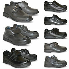 New Boys Kids Black Back To School Smart Dress Velcro Skate Shoes All Size UK
