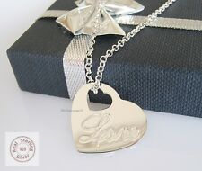 Love Heart Pendant + Rolo Chain 16 1/2-23 5/8in Real 925 Sterling Silber