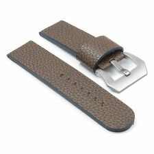 DASSARI Aztek Leather Watch Strap in Brown w/ Matte Steel Pre-V Buckle Panerai