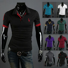 Fashion Mens Slim Cotton Short Sleeve Casual Polo Shirts Working T-shirt Tops