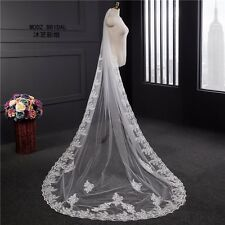 1 Layer White Cathedral Length Lace Edge Bride Wedding Bridal Long Veil +Comb