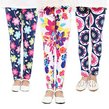 New Lovely Baby Kids Girls Leggings Pants Floral Printed Trousers For 4-12 Years