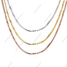 "18kt Gold Plated Diamond Cut Snake Chain Design Unisex 1.5 mm 19"" Chain Necklace"