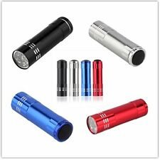 Wide Use Aluminum Mini Flashlight 9 LED Ultra Violet Torch Light Lamp HI