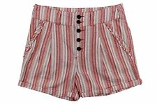 Free People Red White Striped Vintage Linen Blend Roll Up Cuffs Shorts Women $78