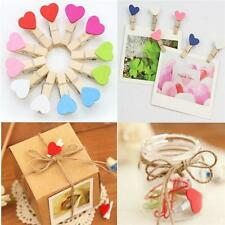 10pcs New Wooden Heart Mini Clip Wood Pegs Kid Craft Party Favor Supply Gift FW