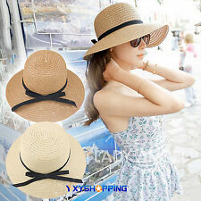 New Women Ladies Floppy Foldable Straw Hat Cloche Wide Brim Summer Beach Sun Hat