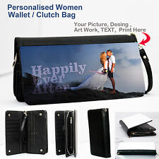 Personalised Womens Wallet Clutch bag hi qualtiy PU leather Photo text printed ❤