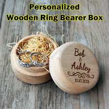 Personalized Engraving Wooden Wedding Ring Box / Custom Ring Bearer Box Gift b