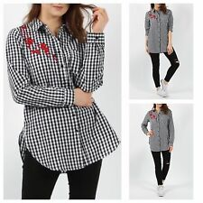 WOMENS LADIES CASUAL COLLARED EMBROIDERED GINGHAM CHECK SHIRT BLOUSE LONG TOP