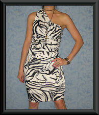 White & Black Animal Print One Shoulder Rouched Draped Cocktail Dress