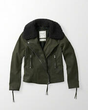 Abercrombie & Fitch Womens Faux Leather Biker Jacket S M Dark Olive NWT