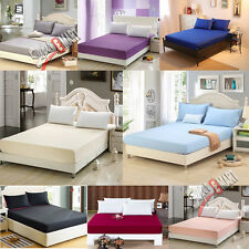 SOFT PLAIN DYED FITTED BED SHEET SINGLE DOUBLE KING SUPER KING SIZE PILLOWCASE