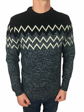 Superdry Mens Chevron Placement Crew Neck Jumper in Navy Grit/Navy Size Small