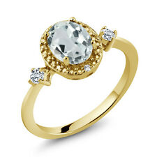 1.27 Ct Oval Sky Blue Aquamarine White Topaz 18K Yellow Gold Plated Silver Ring
