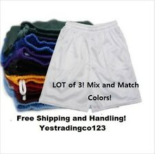 Lot of 3 Men's Mesh Jersey Athletic Fitness Workout Colors Shorts with Pockets