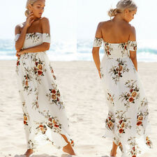 Women Summer Long Dress Fashion Floral Printed Boho Beach Dress Cocktail Dress H