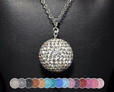HUGE 22mm 1 inch Pave Crystal Disco Ball Pendant Necklace Sterling Silver Chain