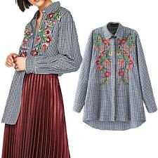 Women Embroidery Plaid Blouse Floral Turn Down Collar Long Sleeve Top Shirt B2B0