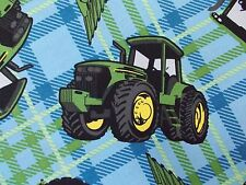 John Deere Tractors Fabric 100% Cotton Quilting Green Blue Plaid FQ, BTHY, BTY