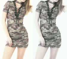 Womens Ladies Army Camouflage Print Lace Up Choker Neck Bodycon T Shirt Dress