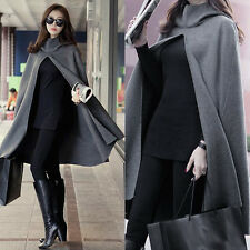 Womens Long Loose Wool Hooded Solid Cloak Cape Coat Jacket Shawl Outwear Hoodies