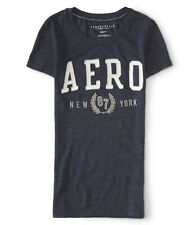 Aeropostale Womens T-Shirt Slim Fit Wreath Graphic Tee S M or XL Navy NWT
