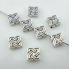 60/500pcs Tibetan Silver 2*7mm Flat Square Charm Spacer Beads Jewelry Findings