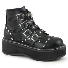 Demonia EMILY-315 Women's Black Platform Lace-Up Front/ Buckle Strap Ankle Boot