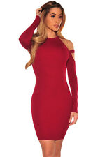Sexy Autumn Strappy Cold Shoulder Long Sleeve Mini Bodycon Bandage Party Dress