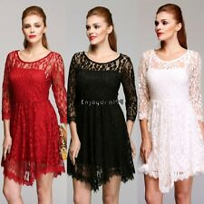 Stylish Women's 2pcs Mini Dress Bottom Strap Dress and Lace Swing Dress OO5501