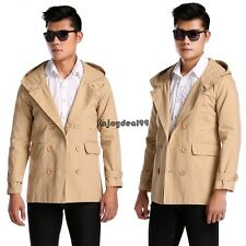 New Mens Fashion Casual Double Breasted Trench Slim Fit Long Coat Hoodies OO5502