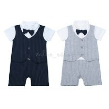 Baby Boy Fancy Wedding Formal Gentleman Tuxedo Suit Stripe Romper Outfit Clothes