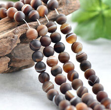 Natural Brown Stripe Agate Gemstone Round Loose Beads 15.5'' 6mm 8mm 10mm 12mm
