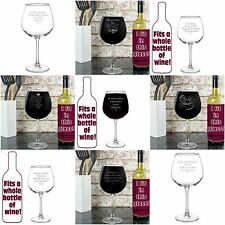 Personalised Bottle of Wine Glass - Fits a Whole Bottle of Wine Gifts for Women