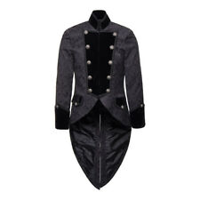 Mens Pentagramme Black Brocade Effect Steampunk/Military Style Fitted Coat