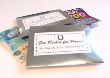 10 SILVER PERSONALISED MONEY ENVELOPES FAVOUR WEDDING LOTTERY TICKET SCRATCHCARD
