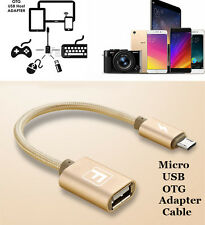 Braided OTG Micro USB Male to USB 2.0 Female Adapter Data Sync Cable Connector