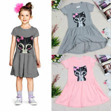 Baby Kids Girl Clothes Lovely Summer Dress Cat Print Cartoon Casual Party Shirts