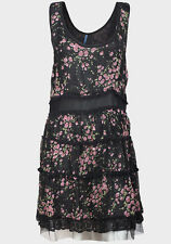 New Evie Chiffon Black Floral Rose Print Tiered Effect Dress Size 8 12 14