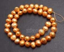 Big 8-9mm Orange Baroque Natural Freshwater Pearl Loose Beads Strand 14''-los740