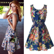 Women Sleeveless Tank Short Dress Summer Beach Chiffon Floral Pleated Sundress