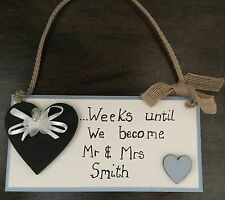 Shabby chic wooden Mr & Mrs wedding countdown plaque...weeks until we become....