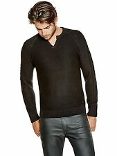 GUESS Sweater Mens Brantley Slit Neck Raglan Sleeve Pullover XL Black NWT