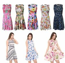 Womens Laides Sleeveless Flared Skater Swing Dress Party 8-24 Plus Size Dress