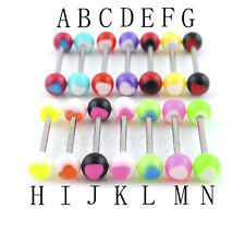 """2pc 14 Gauge 16mm(5/8"""") 6mm Heart Acrylic Ball Steel Tongue Barbell Tongue Ring"""