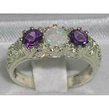 Solid Sterling Silver Natural Opal & Amethyst Art Nouveau Carved Trilogy Ring